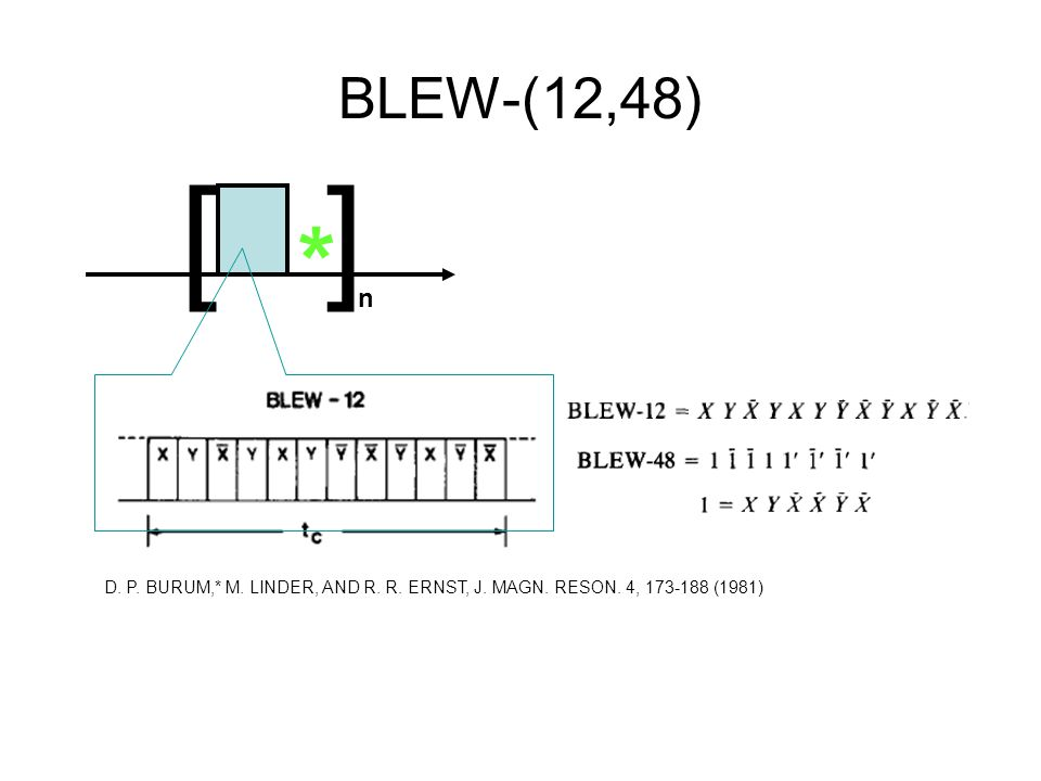 BLEW-(12,48) [ ] n * D. P. BURUM,* M. LINDER, AND R. R. ERNST, J. MAGN. RESON. 4, 173-188 (1981)